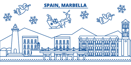 Spain, Marbella winter city skyline. Merry Christmas, Happy New Year decorated banner with Santa Claus.Winter greeting line card.Flat, outline vector. Linear christmas snow illustration