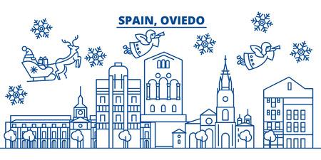 스페인, 오비에 겨울 도시의 스카이 라인. 메리 크리스마스, 해피 뉴가 어 산타 클로스와 배너를 장식. 인사말 라인 card.Flat, 개요 벡터. 선형 크리스마