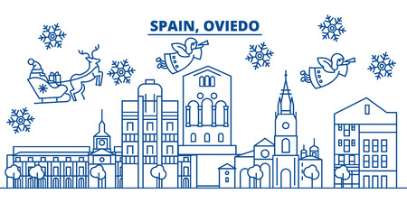 Spain, Oviedo winter city skyline. Merry Christmas, Happy New Year decorated banner with Santa Claus.Winter greeting line card.Flat, outline vector. Linear christmas snow illustration