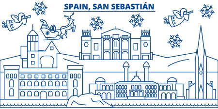 Spain, San Sebastian winter city skyline. Merry Christmas, Happy New Year decorated banner with Santa Claus.Winter greeting line card.Flat, outline vector. Linear christmas snow illustration