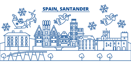 Spain, Santander winter city skyline. Merry Christmas, Happy New Year decorated banner with Santa Claus.Winter greeting line card.Flat, outline vector. Linear christmas snow illustration