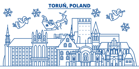 Poland, Torun winter city skyline. Merry Christmas, Happy New Year decorated banner with Santa Claus.Winter greeting line card.Flat, outline vector. Linear christmas snow illustration