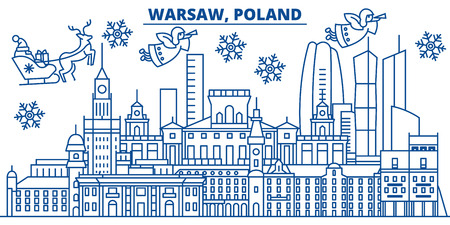 Poland, Warsaw winter city skyline. Merry Christmas, Happy New Year decorated banner with Santa Claus.Winter greeting line card.Flat, outline vector. Linear christmas snow illustration