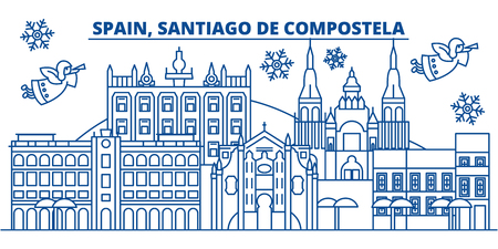 Spain, Santiago de Compostela winter city skyline. Merry Christmas, Happy New Year decorated banner with Santa Claus.Winter greeting line card.Flat, outline vector. Linear christmas snow illustration
