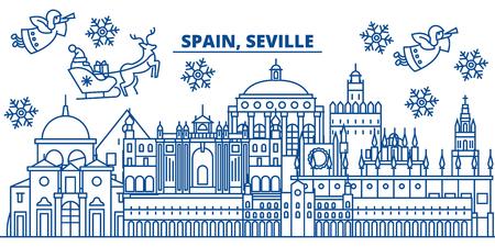 スペイン、セビリアの冬の街のスカイライン。メリークリスマス、ハッピーニューイヤーはサンタクロース.冬のグリーティングラインカードでバナ