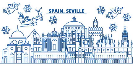 Spain, Seville winter city skyline. Merry Christmas, Happy New Year decorated banner with Santa Claus.Winter greeting line card.Flat, outline vector. Linear christmas snow illustration Ilustração