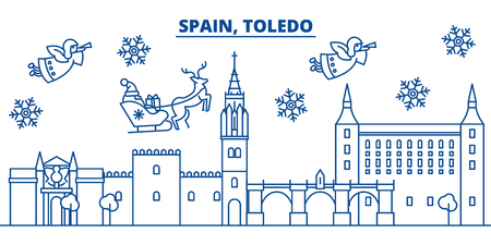 Spain, Toledo winter city skyline. Merry Christmas, Happy New Year decorated banner with Santa Claus.Winter greeting line card.Flat, outline vector. Linear christmas snow illustration Illustration