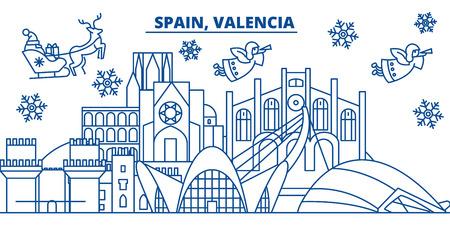 スペイン、バレンシアの冬の街のスカイライン。メリー クリスマス、新年あけましておめでとうございます、サンタ Claus.Winter カードのラインとバナーを装飾されています。フラットなアウトライン ベクトル。線形のクリスマス雪のイラスト 写真素材 - 91359839