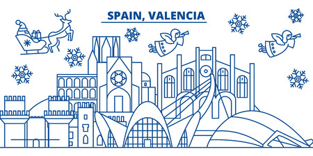 Spain, Valencia winter city skyline. Merry Christmas, Happy New Year decorated banner with Santa Claus.Winter greeting line card.Flat, outline vector. Linear christmas snow illustration