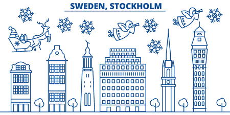 Sweden, Stockholm winter city skyline. Merry Christmas, Happy New Year decorated banner with Santa Claus.Winter greeting line card.Flat, outline vector. Linear christmas snow illustration