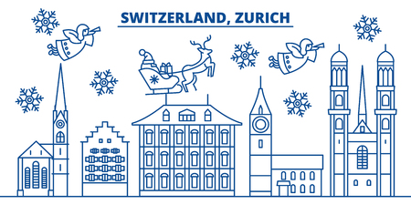 Switzerland, Zurich winter city skyline. Merry Christmas, Happy New Year decorated banner with Santa Claus.Winter greeting line card.Flat, outline vector. Linear christmas snow illustration