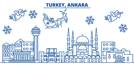 Turkey, Ankara winter city skyline. Merry Christmas, Happy New Year decorated banner with Santa Claus.Winter greeting line card.Flat, outline vector. Linear christmas snow illustration