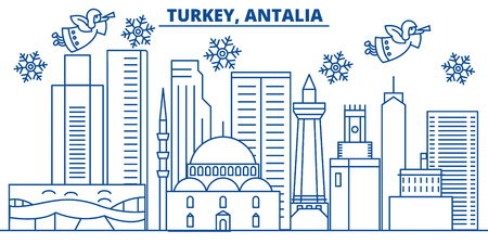 Turkey, Antalia winter city skyline. Merry Christmas, Happy New Year decorated banner with Santa Claus.Winter greeting line card.Flat, outline vector. Linear christmas snow illustration