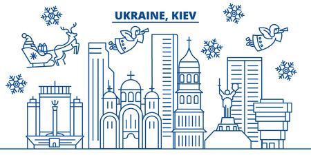 우크라이나, 키예프 겨울 도시의 스카이 라인. 메리 크리스마스, 해피 뉴가 어 산타 클로스와 배너를 장식. 인사말 라인 card.Flat, 개요 벡터. 선형 크리
