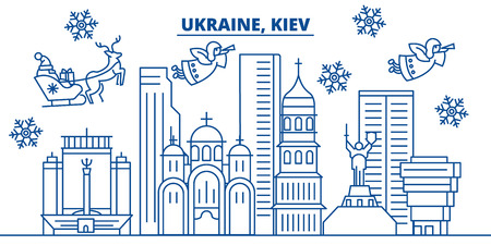 Ukraine, Kiev winter city skyline. Merry Christmas, Happy New Year decorated banner with Santa Claus.Winter greeting line card.Flat, outline vector. Linear christmas snow illustration Иллюстрация