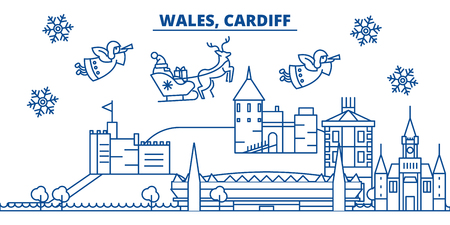 Wales, Cardiff winter city skyline. Merry Christmas, Happy New Year decorated banner with Santa Claus.Winter greeting line card.Flat, outline vector. Linear christmas snow illustration Stock Photo