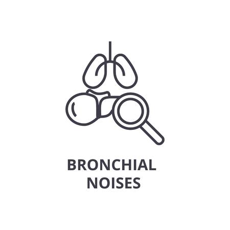 bronchial noises thin line icon, sign, symbol, illustation, linear concept vector  Ilustracja