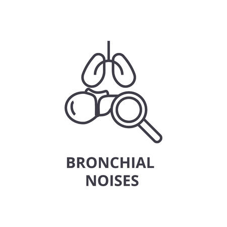 bronchial noises thin line icon, sign, symbol, illustation, linear concept vector  Illustration