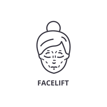 facelift thin line icon, sign, symbol, illustation, linear concept vector Banco de Imagens - 100101339