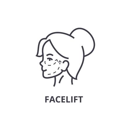 face lifting thin line icon, sign, symbol, illustation, linear concept vector Banco de Imagens - 100101342