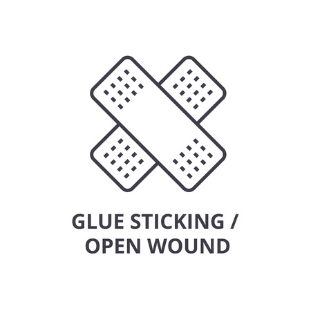 glue sticking, open wound thin line icon, sign, symbol, illustation, linear concept vector Imagens - 100102327
