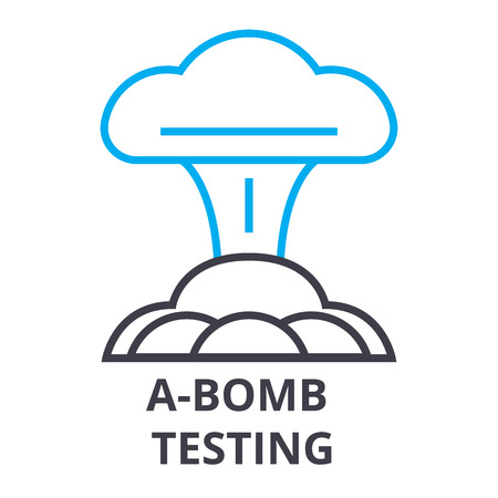 a bomb testing thin line icon, sign, symbol, illustation, linear concept vector