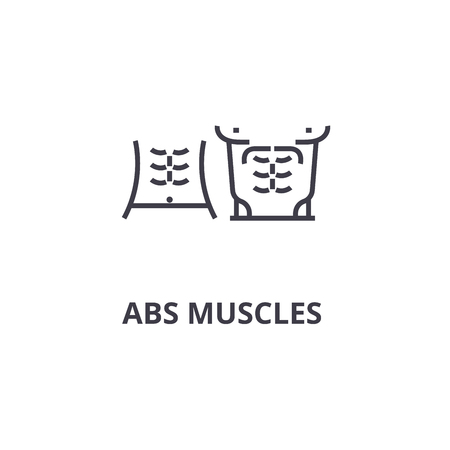 abs muscules thin line icon, sign, symbol, illustation, linear concept vector  Иллюстрация