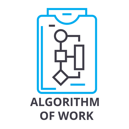 algorithm of work thin line icon, sign, symbol, illustation, linear concept vector