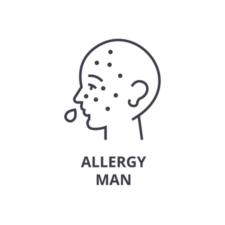 allergy man thin line icon, sign, symbol, illustation, linear concept vector  Vectores