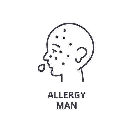 allergy man thin line icon, sign, symbol, illustation, linear concept vector  Illustration