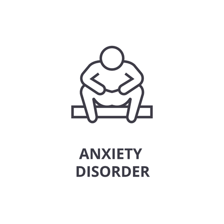 anxiety disorder thin line icon, sign, symbol, illustation, linear concept vector