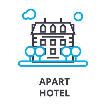 apart hotel thin line icon, sign, symbol, illustation, linear concept vector