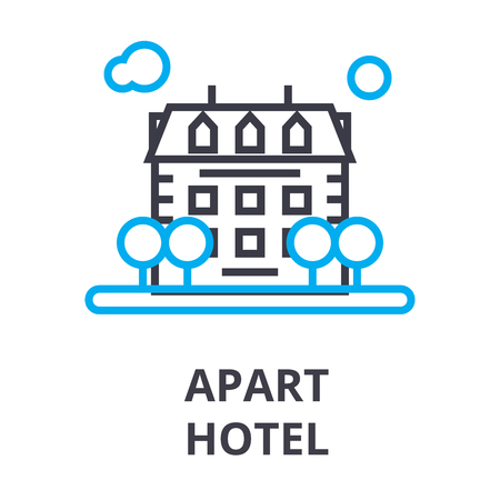 apart hotel thin line icon, sign, symbol, illustation, linear concept vector