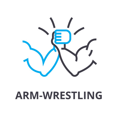 arm wrestling thin line icon, sign, symbol, illustation, linear concept vector 일러스트