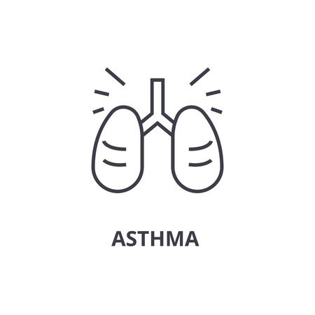 asthma thin line icon, sign, symbol, illustation, linear concept vector