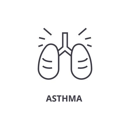 asthma thin line icon, sign, symbol, illustation, linear concept vector