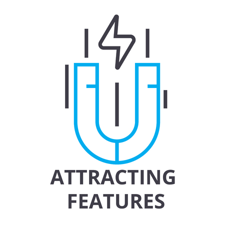 Attracting features thin line icon, sign, symbol, illustration, linear concept vector.
