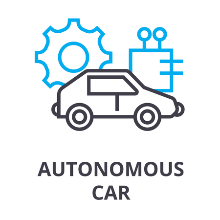 autonomous car thin line icon, sign, symbol, illustation, linear concept vector  イラスト・ベクター素材