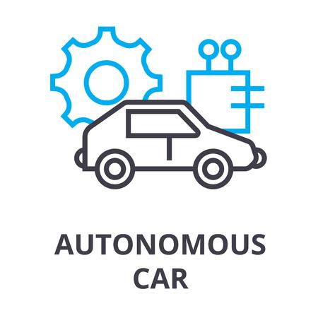 autonomous car thin line icon, sign, symbol, illustation, linear concept vector Illustration