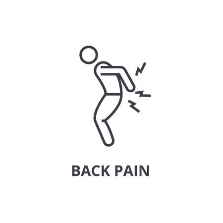 icono de línea delgada de dolor de espalda, signo, símbolo, ejemplares, vector de concepto lineal