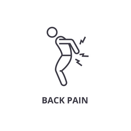 back pain thin line icon, sign, symbol, illustation, linear concept vector