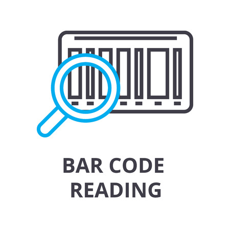 Bar code reading thin line icon, sign, symbol, illustration, linear concept vector.