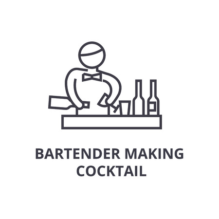 bartender making cocktail thin line icon, sign, symbol, illustation, linear concept vector Archivio Fotografico - 100200227
