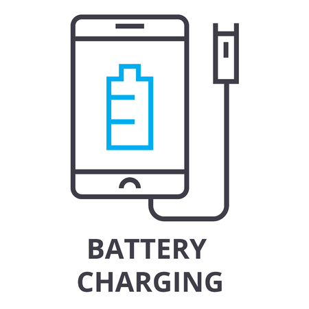 battery charging thin line icon, sign, symbol, illustation, linear concept vector