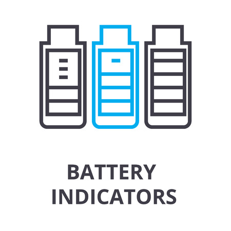 battery indicators thin line icon, sign, symbol, illustation, linear concept vector