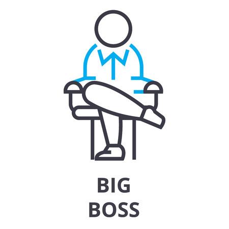 Big boss thin line icon, sign, symbol, illustration, linear concept vector.