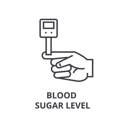 Icono de línea delgada de nivel de azúcar en sangre, signo, símbolo, ilustración, vector de concepto lineal.