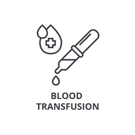 blood transfusion thin line icon, sign, symbol, illustation, linear concept vector