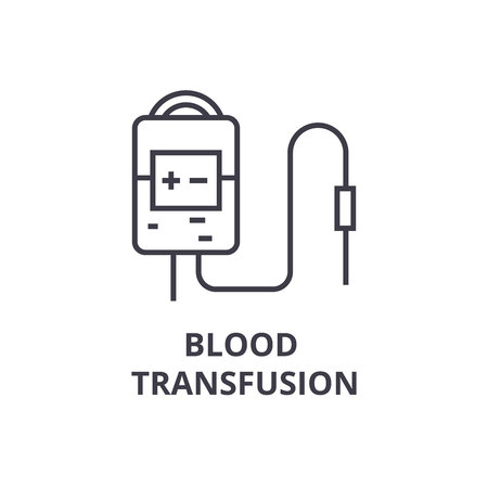 blood transfusion system thin line icon, sign, symbol, illustation, linear concept vector