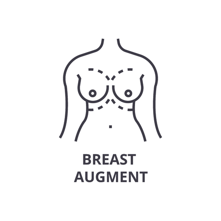 Breast augment thin line icon, sign, symbol, illustration, linear concept vector.  イラスト・ベクター素材